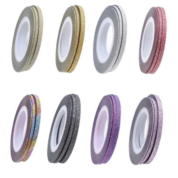 10-pak Glitrende stribetape, sømbånd, sømdekorationer Multicolor