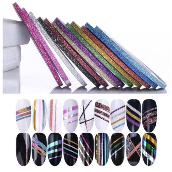 10 kpl Glittery Striping -teippi, kynsinauha, kynsikoristeet Multicolor