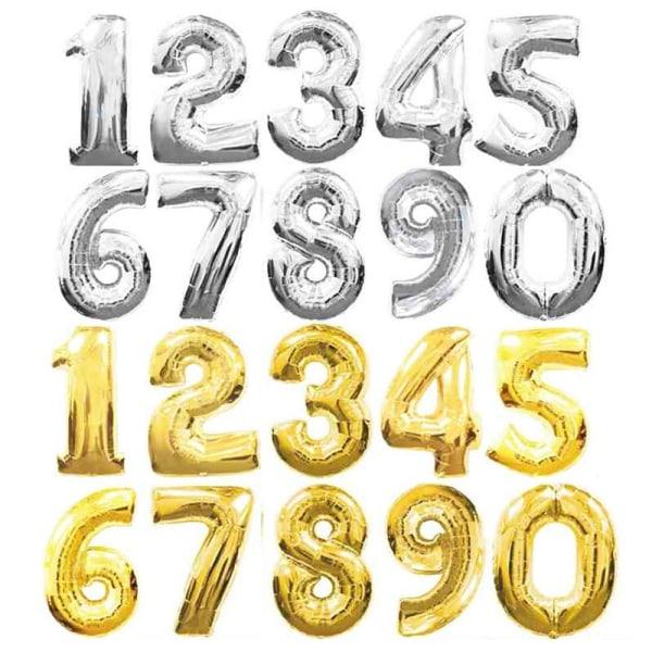 Ballonger siffror 0-9   Silver & Guld   Födelsedagsballonger Silver - 1