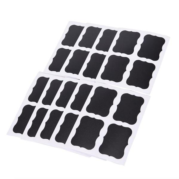 36-pack svarta tavlan-etiketter, griffeltavla etiketter Svart