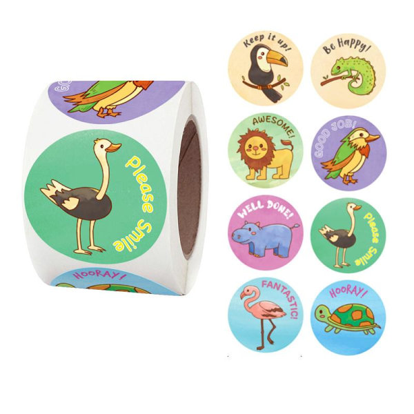 500st stickers klistermärken - Djur motiv - Cartoon multifärg