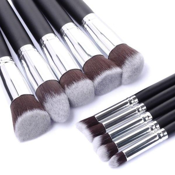 10st Professionella sminkborstar, make up set - Silver Silver