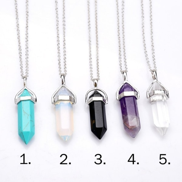 Halsband - Crystal bullets natur sten glas 3. Svart