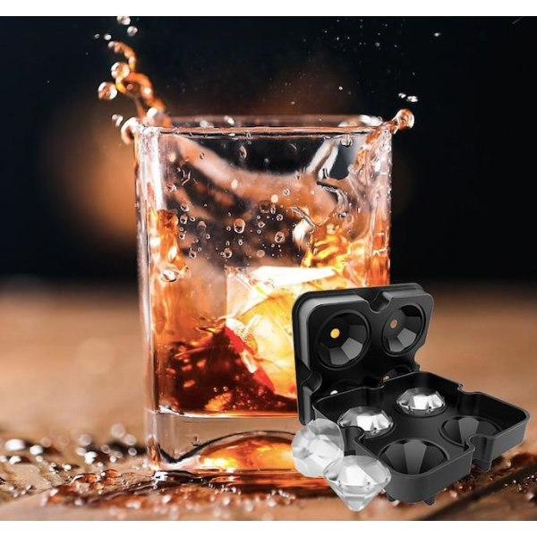 Is/Choklad/Geléform - diamanter - diamonds - Isform Svart
