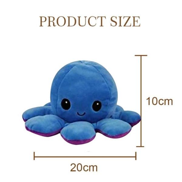Dubbelsidig vändbar bläckfisk plyschleksaker, Reversible Octopus MultiColor Blå/ Ljusrosa