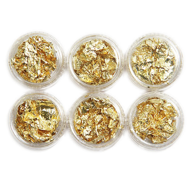 6 st burkar guld folie flakes Guld