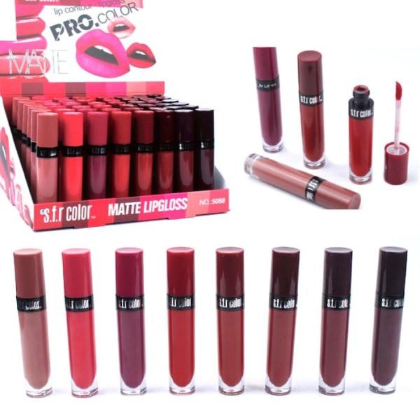 8st MATTE Lipgloss set - 8 färger - lipbalm - Makeup set multifärg