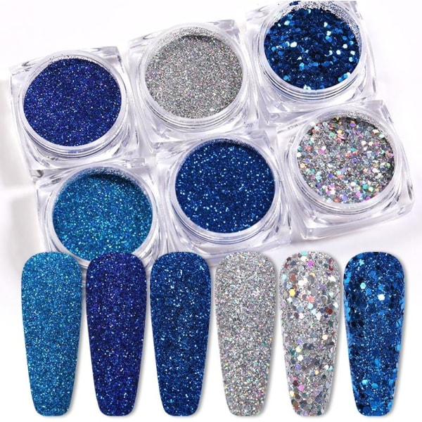 6st nagelglitter glitter , Nageldekorationer