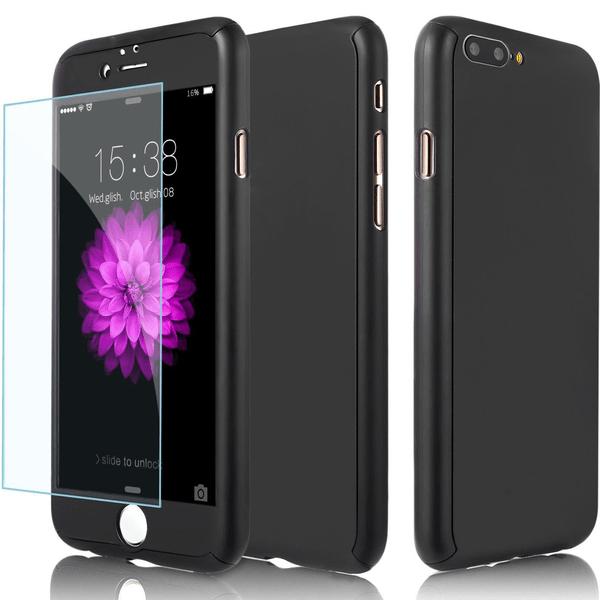 Exklusivt 360° iPhone 8 Plus fram/baksida + skärmskydd Svart Svart
