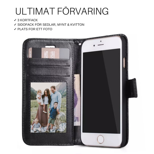 Plånboksfodral iPhone 8 Plus | Läder | 3 kort + ID svart Svart