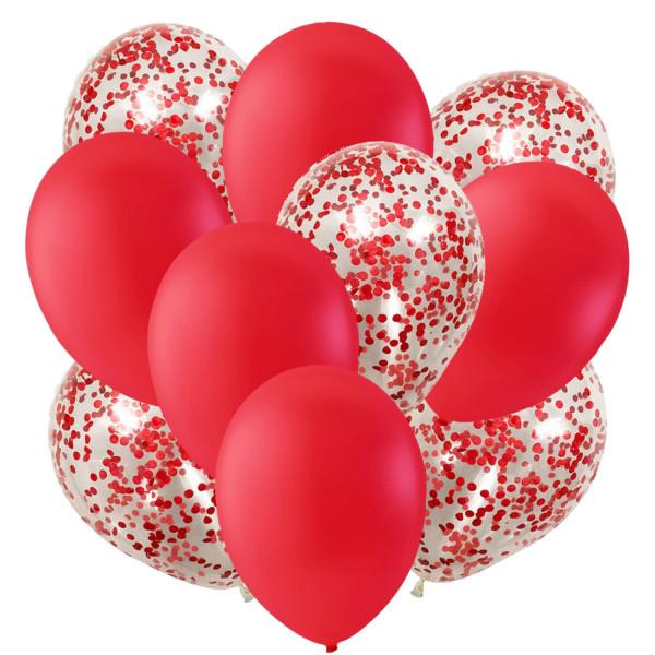 Ballonger Röda och Konfettiballonger | Kalas | Födelsedag | Fest Röd