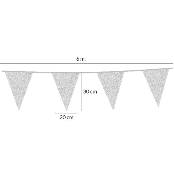 Flaggirlang | Vimpelgirlang | Vimpel Silver med Glitter - 6 m.  Silver