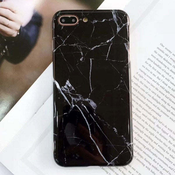 Marmor Sten TPU-skal för iPhone 8 plus Svart