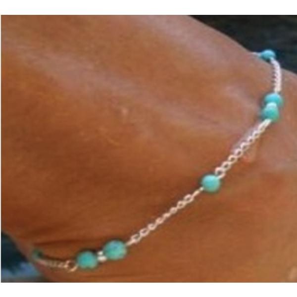 Armband SILVER med skimrande pärlor turkos