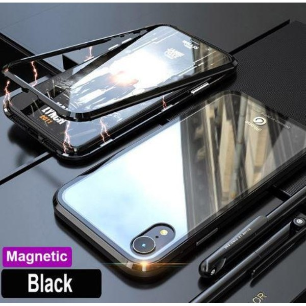Magnetisk Aluminiummetall med glas för iphone 7/8 plus  röd Ocean röd