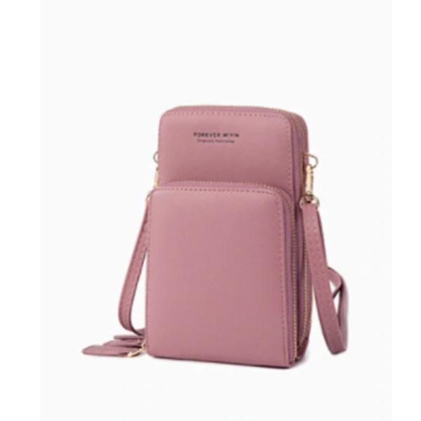 Mini Crossbody telefonväska för kvinnor mörkrosa rosa