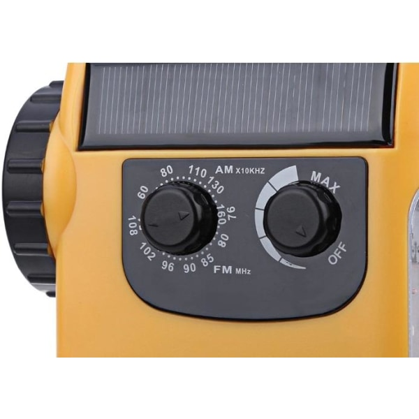 Multifunktionell Vevradio med LED-lampa - FM-radio, USB, Solcell