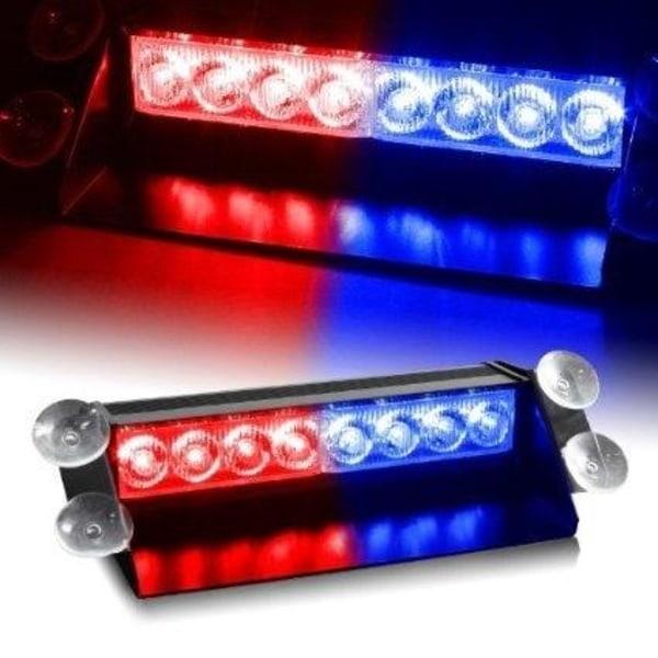 LED Blixtljus för vindrutan, 12V, Röd/Blå (DRL153)