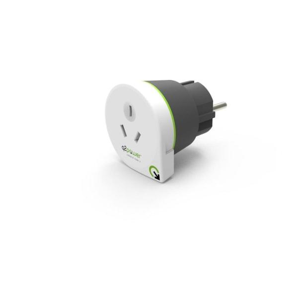 Q2power jordad reseadapter, Australien till EU, 16A, vit