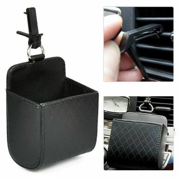 Snygg mobilhållare till bilen i PU-läder, Svart