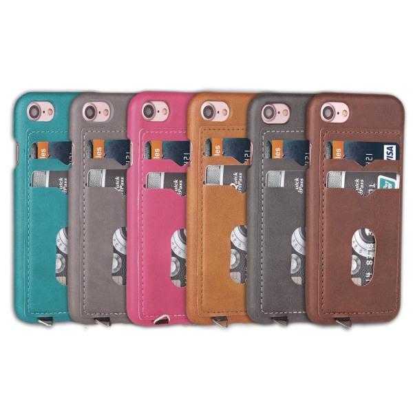iPhone 8 - Skal med Korthållare (LEMAN) Grå