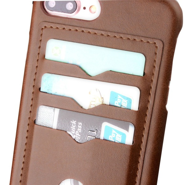LEMANS Smarta Skal med Korthållare till iPhone 7 Plus Mörkbrun