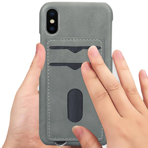 iPhone XR - Praktiskt Skal med Korthållare (LEMAN) Grön