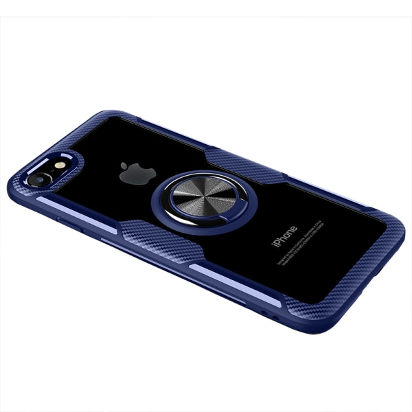 iPhone 7 Plus - Leman Stilrent Skal med Ringhållare SVART/SVART