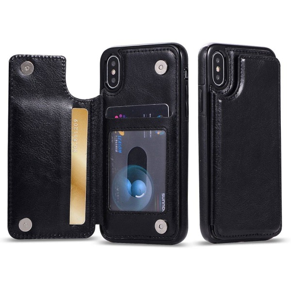 iPhone XR - M-Safe Skal med Plånbok Marinblå