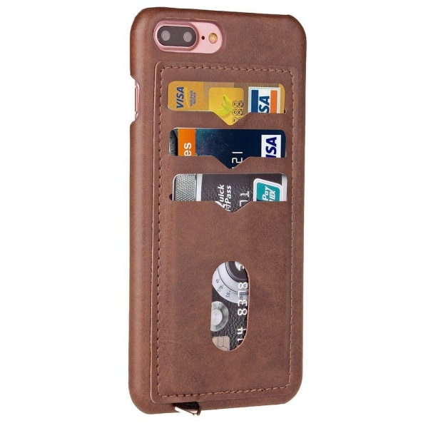 iPhone 7 Plus - Elegant Skal med Korthållare (LEMAN) Mörkbrun