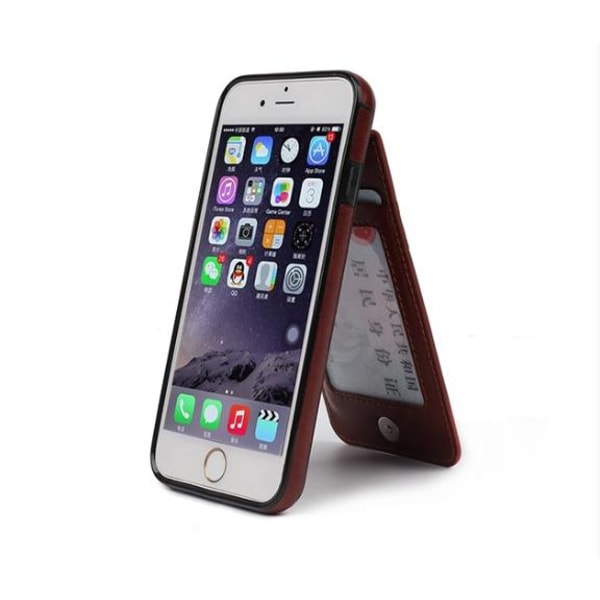 iPhone 6/6S Elegant Läderskal med plånbok/Kortfack Brun