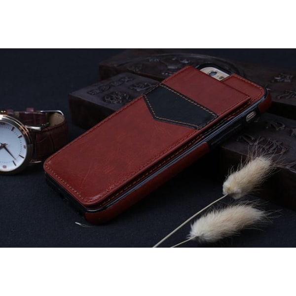 iPhone 6/6S Elegant Läderskal med plånbok/Kortfack Vit