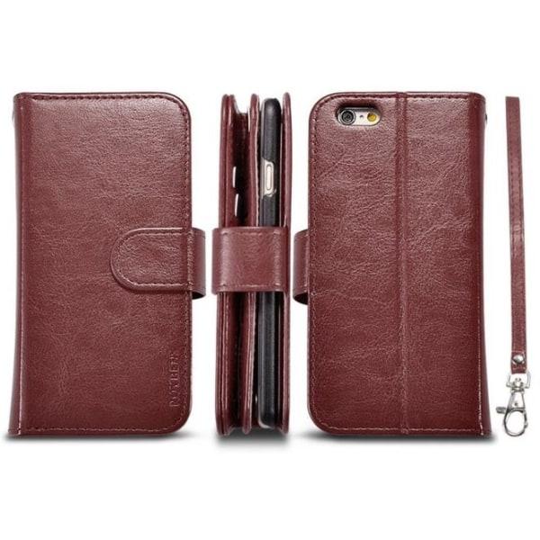 iPhone 6/6S Plus - Stilrent Plånboksfodral i Läder från LEMAN Brun