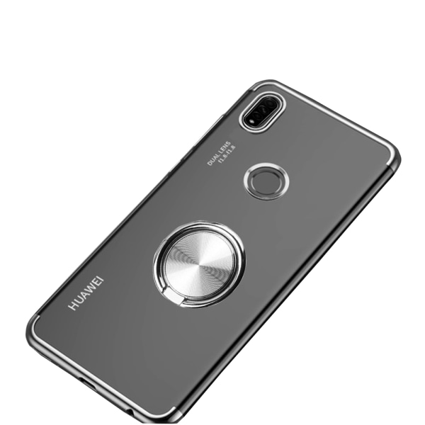 Huawei P40 Lite E - Praktiskt Skal med Ringhållare Svart