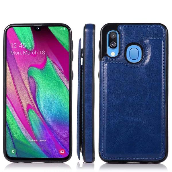 Samsung Galaxy A20E - Skal med Korthållare Brun