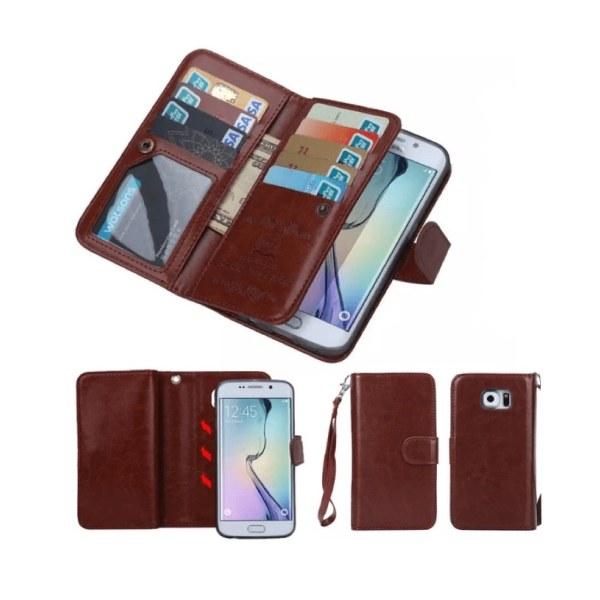 Samsung S6 Edge - LEMANS Stilrena Plånboksfodral i LÄDER Röd