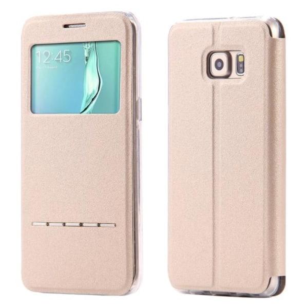 Samsung S7 - Smartfodral med Fönster, Svarsfunktion och Ställ Röd