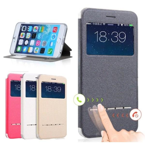 Smartfodral med Fönster & Svarsfunktion för iPhone 7 PLUS Svart