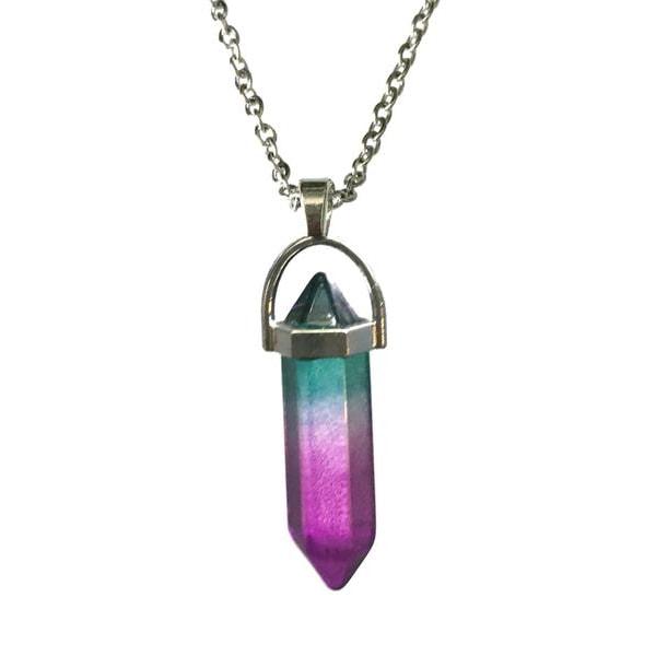 Kaulakoru - Kristallipiste - Violetti/Vihreä - Ruostumaton Multicolor