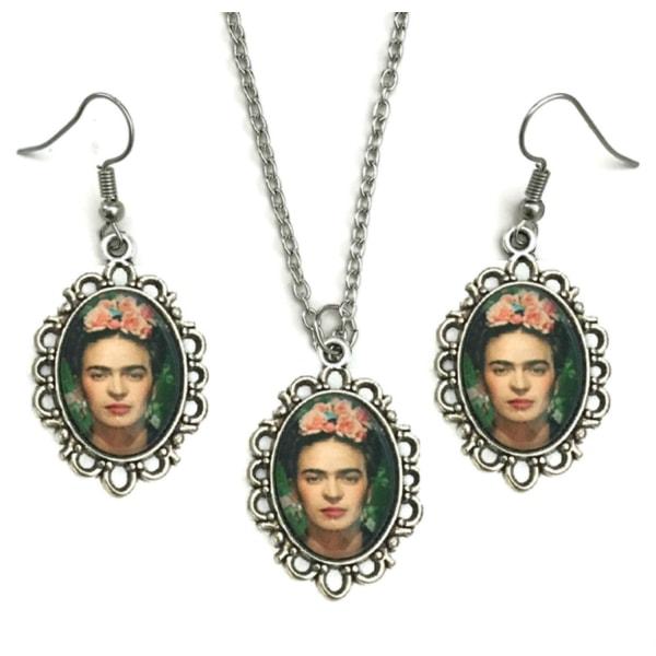 Kaulakoru - Korvakorut - Set - Frida Kahlo - Hopea Multicolor