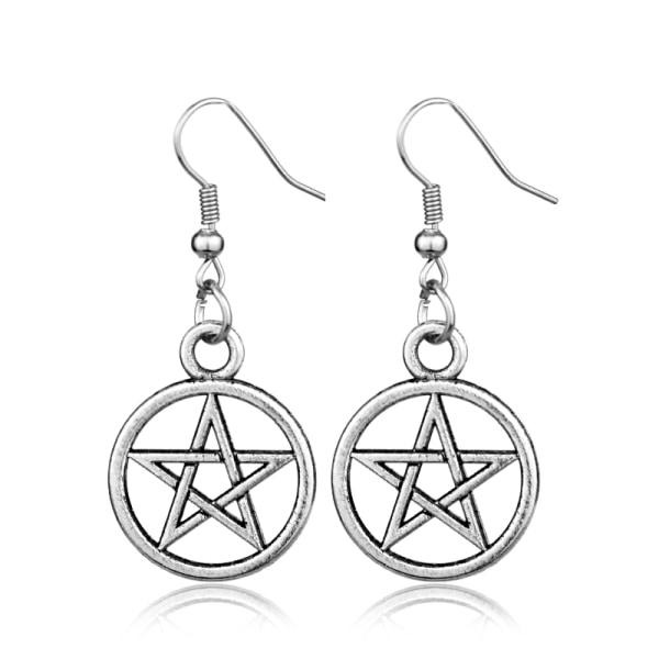 Örhängen  Pentagram Wicca Pagan Silver