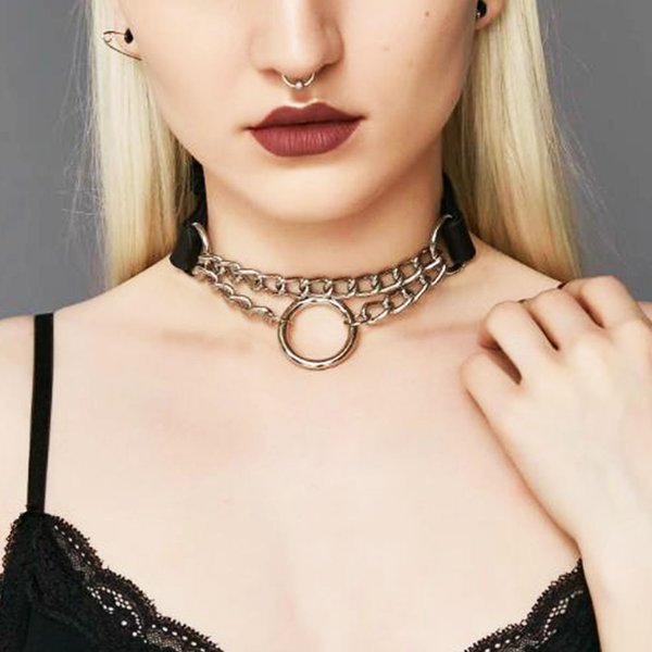Choker O RING Collar O-ring SVART PU-läder Halsband Harness  Svart