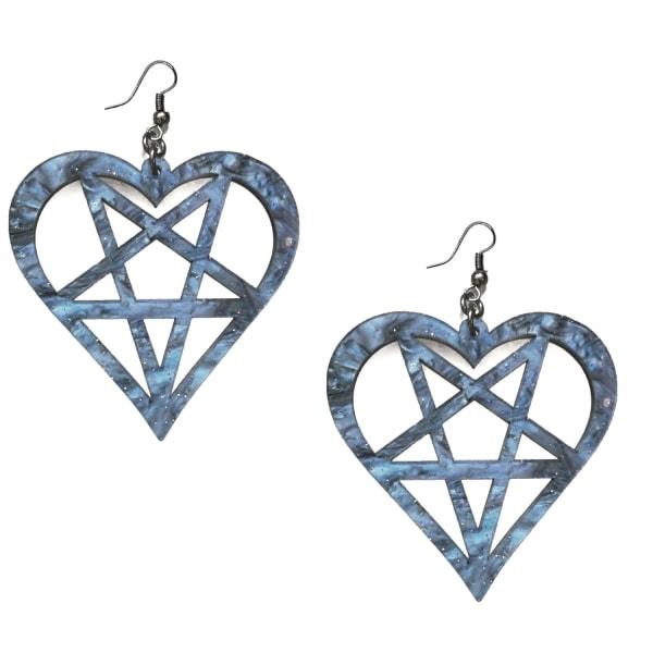 Korvakorut - Heartagram - Pentagrammi - HIM - Marmori Purple