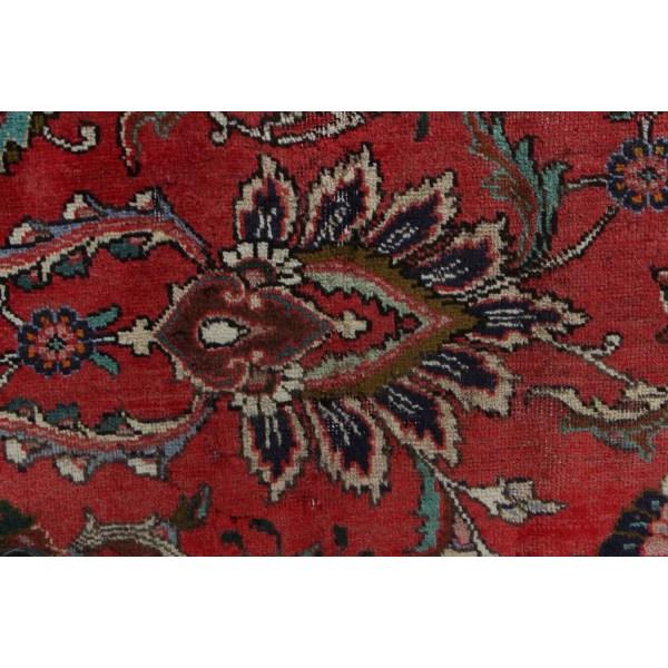 Handknuten Original Persisk Vintagematta Tabriz Ull 221x333cm Röd