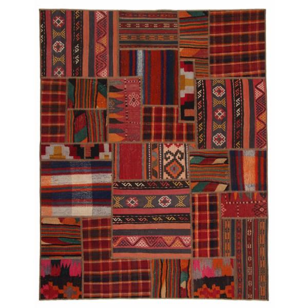 Handknuten Persisk Kelim Patchworkmatta Shiraz/Azerbajdzjan 155x Röd