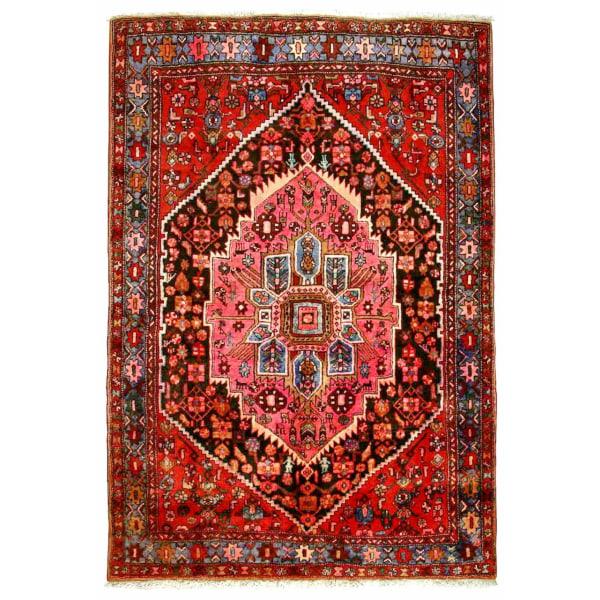 Handknuten Persisk Patinamatta Zanjan/Khamseh 136x203cm Röd