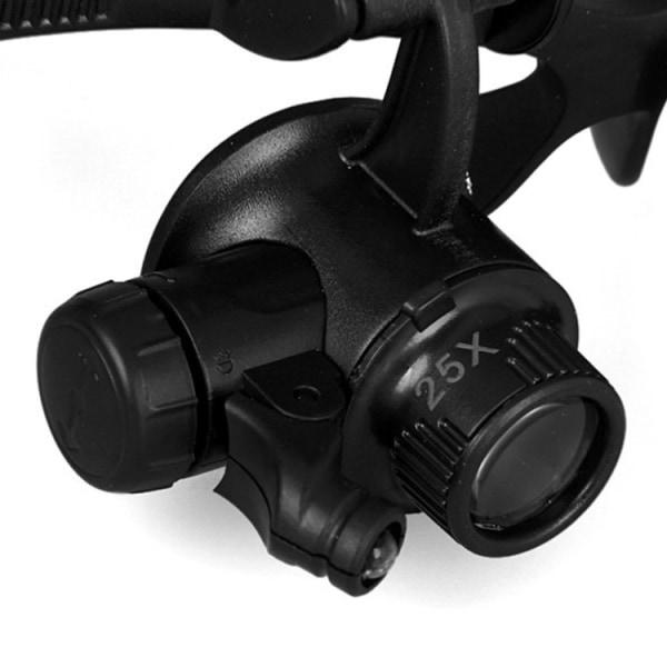20X Förstoringsglasögon med LED-lampor - Svart