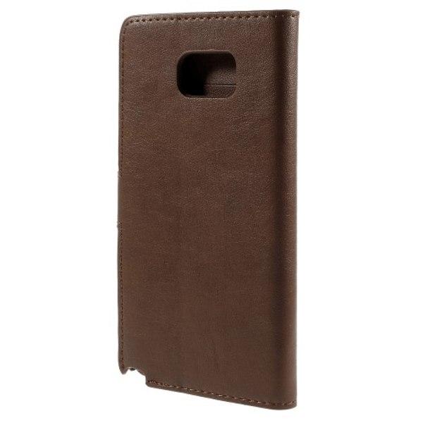 Glansigt Plånboksfodral till Galaxy Note 5, Mörkbrun