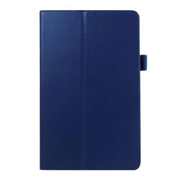 Litchi fodral för Samsung Galaxy Tab E 9.6 - mörkblå