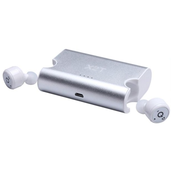 X2T True wireless bluetooth hörlurar med Powerbank Silver